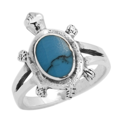 M-R1010-BT Silver Blue Turquoise Turtle Ring
