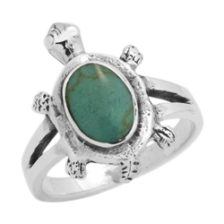 M-R1010-GT Silver Blue Turquoise Turtle Ring