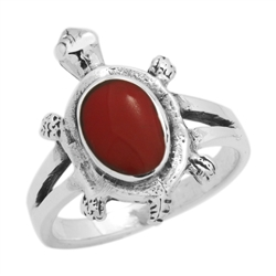 M-R1010-RC Silver Red Coral Turtle Ring