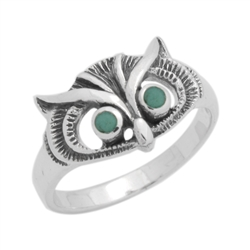 M-R1011-GT Silver Green Turquoise Ring