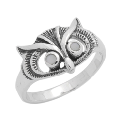 M-R1011-MP Silver Mother of Pearl Owl Ring