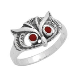 M-R1011-RC Silver Red Coral Owl Ring