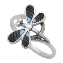 M-R1012-AB Silver Abalone Dragonfly Ring