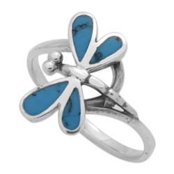 M-R1012-BT Silver Blue Turquoise Dragonfly Ring