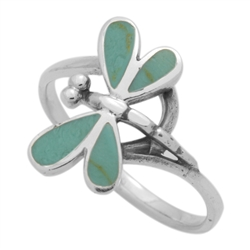 M-R1012-GT Silver Green Turquoise Dragonfly Ring