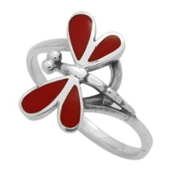 M-R1012-RC Silver Red Coral Dragonfly Ring