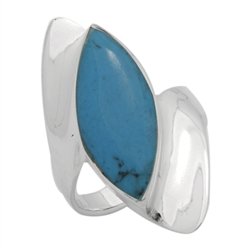 M-R1013-BT Silver Blue Turquoise Long  Ring