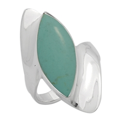 M-R1013-GT Silver Green Turquoise Long  Ring