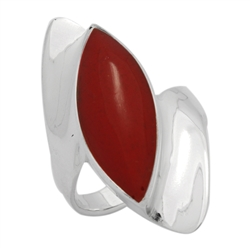M-R1013-RC Silver Red Coral Long  Ring