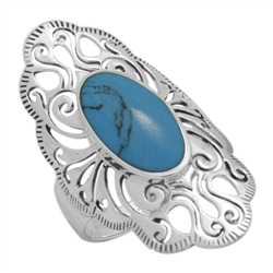 M-R1014-BT Silver Blue Turquoise Long Filigree Ring