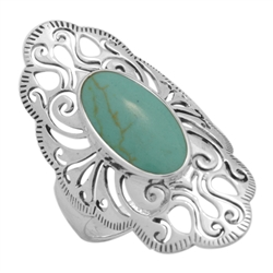 M-R1014-GT Silver Green Turquoise Long Filigree Ring