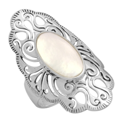 M-R1014-MP Silver Mother Of Pearl Long Filigree Ring