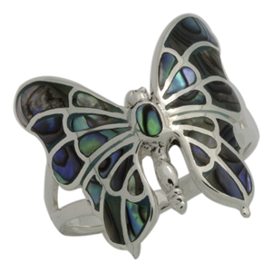 M-R1015-AB Silver Abalone Butterfly Ring