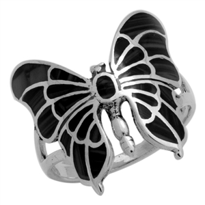 M-R1015-BO Silver Black Onyx Butterfly Ring