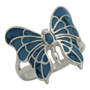 M-R1015-BT Silver Blue Turquoise Butterfly Ring
