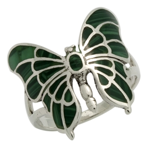 M-R1015-GM Silver Green Malachite Butterfly Ring