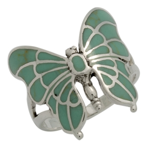 M-R1015-GT Silver Green Turquoise Butterfly Ring