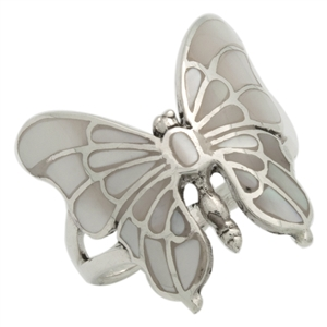 M-R1015-MP Silver MOP Mother of Pearl Butterfly Ring