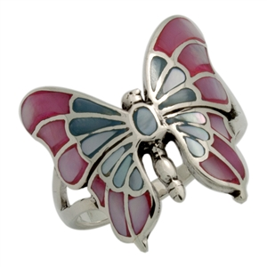 M-R1015-MU Silver Multicolor Butterfly Ring