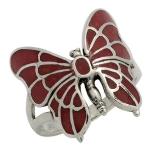 M-R1015-RC Silver Red Coral Butterfly Ring