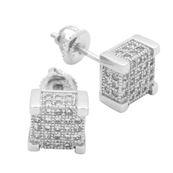 MCER1004 - Sterling Silver CZ Micropave Square Stud Earrings