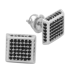 MCER1005 - Sterling Silver Black CZ Micropave Square Stud Earrings
