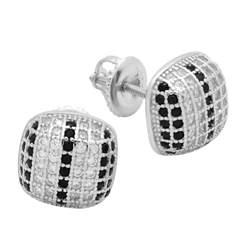 MCER1006 - Sterling Silver Black White CZ Micropave Square Stud Earrings
