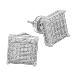 MCER1007 - Sterling Silver CZ Micropave Square Stud Earrings