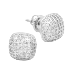 MCER1008 - Sterling Silver CZ Micropave Square Stud Earrings