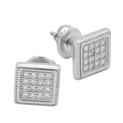 MCER1009 - Sterling Silver CZ Micropave Square Stud Earrings