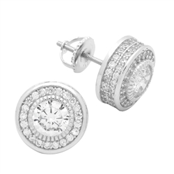 MCER1010 - Sterling Silver CZ Micropave Round Stud Earrings