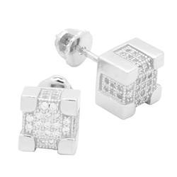 MCER1011 - Sterling Silver CZ Micropave Square Stud Earrings