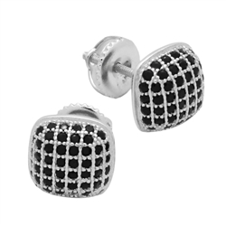 MCER1013 - Sterling Silver Black CZ Micropave Square Stud Earrings