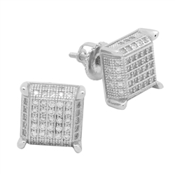 MCER1014 - Sterling Silver CZ Micropave Square Stud Earrings