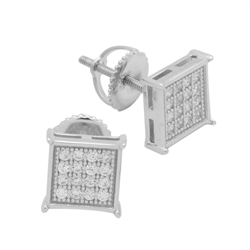 MCER1015 - Sterling Silver CZ Micropave Square Stud Earrings