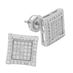 MCER1016 - Sterling Silver CZ Micropave Square Stud Earrings