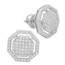 MCER1017 - Sterling Silver CZ Micropave Octagon Stud Earrings