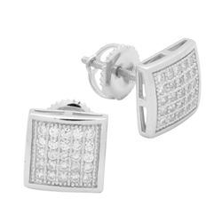 MCER1018 - Sterling Silver CZ Micropave Square Stud Earrings