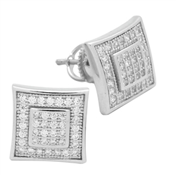 MCER1019 - Sterling Silver CZ Micropave Square Stud Earrings