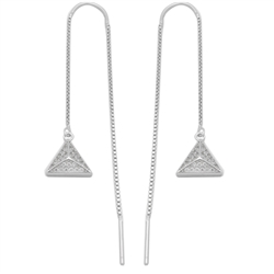 MCER1029 - Sterling Silver CZ Triangle Pyramid Threader Earrings