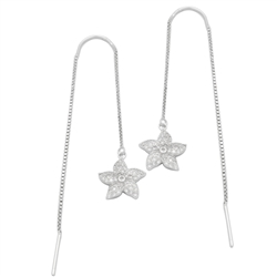 MCER1032 - Sterling Silver CZ Starfish Threader Earrings