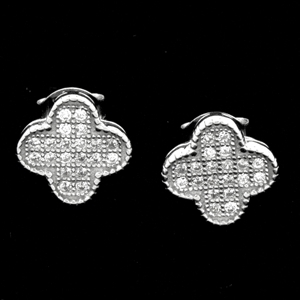 MCER1041 - Silver CZ Micropave Four Leaf Clover Earrings