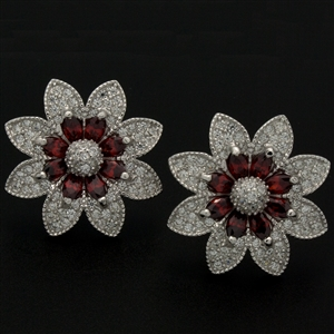 MCER1042 - Silver CZ Micropave Red CZ Earrings