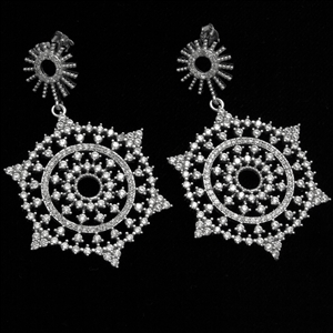 MCER1043 - Silver Long Micropave Elegant CZ Earrings