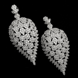 MCER1044 - Silver Long Micropave Elegant CZ Earrings