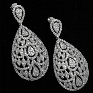 MCER1045 - Silver Long Micropave Elegant CZ Earrings