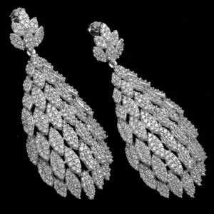 MCER1046 - Silver Long Micropave Elegant CZ Earrings