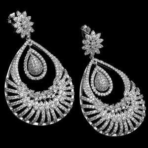 MCER1047 - Silver Long Micropave Elegant CZ Earrings