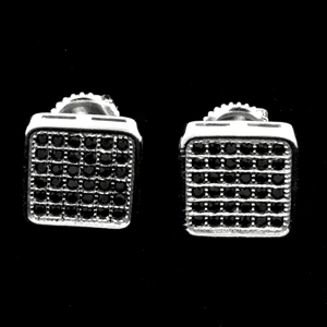 MCER1056 - Silver Micropave Black CZ Square Stud Earrings