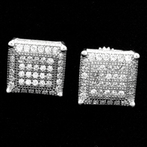 MCER1060 - Silver Micropave CZ Square Stud Earrings